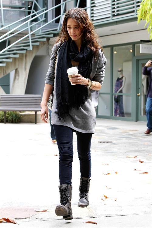 Jessica Alba with Combat Boots