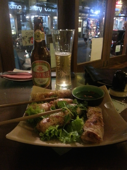 Some pork spring rolls and Hanoi beer at La.
