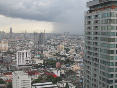 The view of a coming monsoon from our window at the W Bangkok