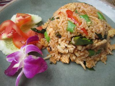 My incredible rice/chicken/basil/ginger dish at Tongue Thai.