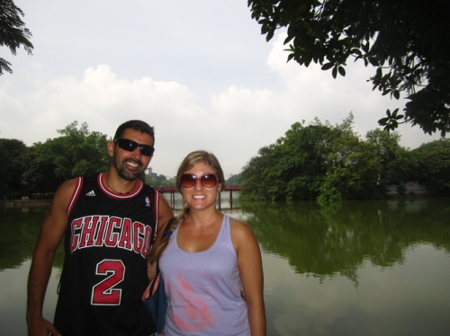Us hanging out at Sword Lake in Hanoi