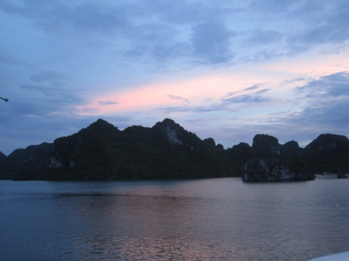 A cloudy but picturesque sunset on Halong, made better with wine