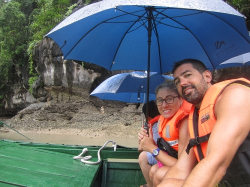 Us on a rainy rowboat...spot the monkey behind us?!