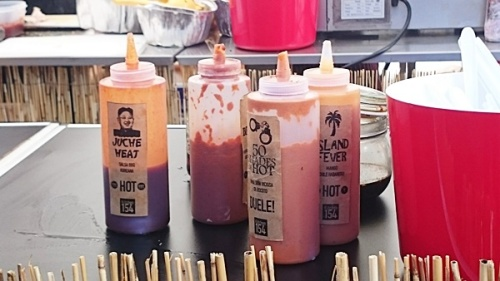 Some Korean BBQ sassy sauce bottles