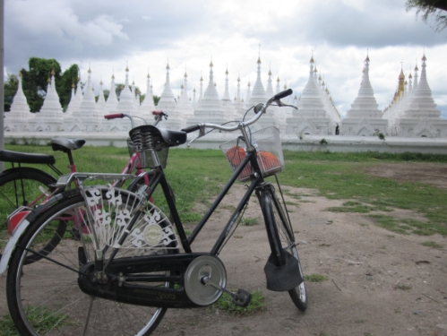 Our bikes parked outside the temple