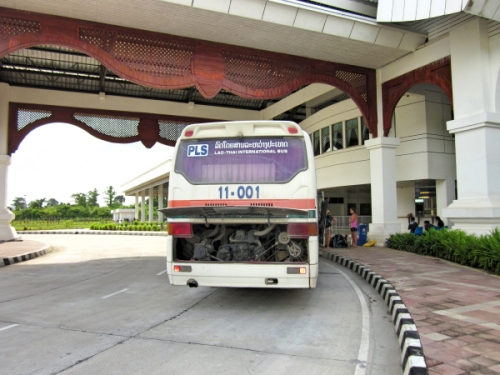 The bus taking us from Lao customs to Thai customs