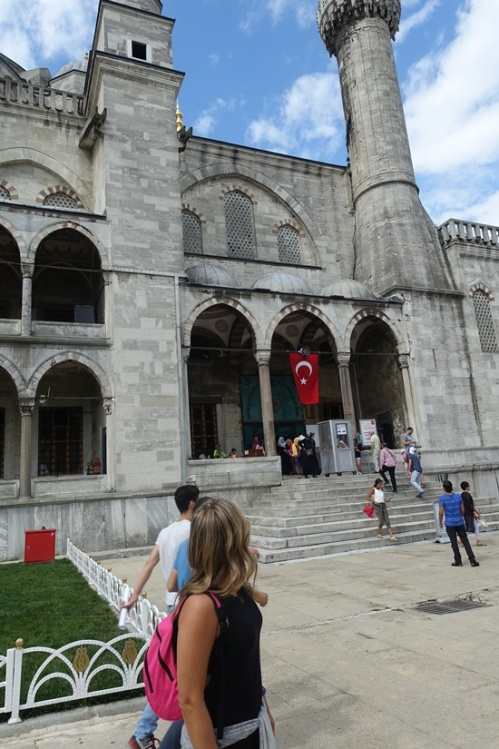 Admiring the Blue Mosque.