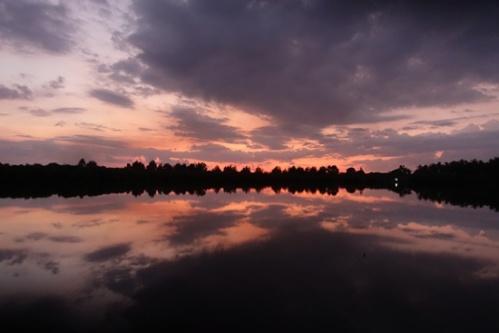 Sunset over the lake on Gili Meno.