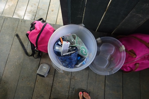 Plastic bins to keep the jungle pests away.
