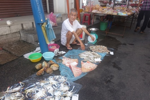 A guy selling fish and other unidentifiable items at the market. I find it interesting,, so many locals sit like this all day long. I've been taking yoga for 20 years to be able to hold this posture for like, 11 seconds.